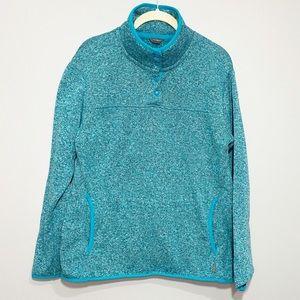 Eddie Bauer | Marled Green Pullover Button Sweater